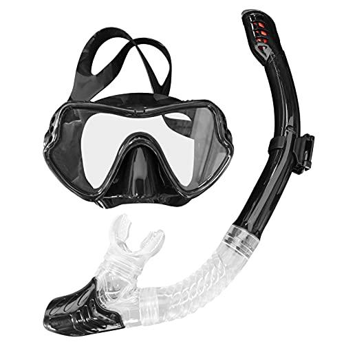 Set de Snorkel Vista Amplia Máscara de Buceo Dry Top Snorkel Set Big Frame Hermoso Anti-Fog Lens Spearfishing Water Sports Mask (Color : Black)