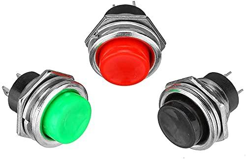 Interruptor de pulsador momentáneo Apagado de Cuerno de plástico Rojo 3A 125V Módulo de electrónica Piezas (Color : Red)