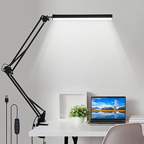 laxikoo Schreibtischlampe LED Tischlampe mit Klemme 3 Farbtemperaturen 10 Helligkeiten Dimmbar USB Schwenkarm Architektenlampe Arbeitsleuchte, Bürotischlampe Augenschutz für Büro, Lesen, Arbeiten