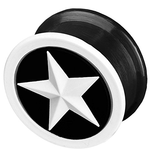 viva-adorno 1 Stück Flesh Plug Tunnel Ohr Piercing Silikon flexibel Stern Größe 4-26mm Z156, 6 schwarz/weiß Z156, Gr. 8mm