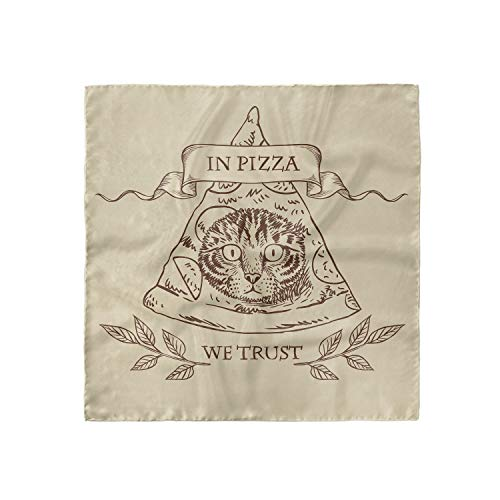 Ambesonne Humorous Hairscarf, Cat Face in Pizza We Trust, Head Wrap, 35' X 35'