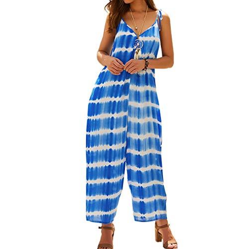 Mypace Sommer Overall Langarm Elegant Playsuit Jumpsuit Für Frauen-Art- und Weisedruck-Sleeveless V-Ansatz Overalls Dame Loose Playsuit Trousers