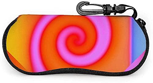 Estuche para gafas Groovy Orange Pink Swirl Abstract-Great Pyrenees Mujer Hombre Estuche para gafas de sol Estuche para gafas con mosquetón, 17x8cm