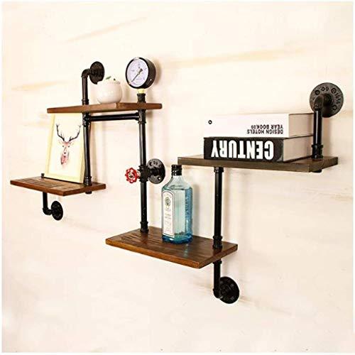 Wandrekken industriële vintage wandplank ladder plank DIY ijzeren buis staande boekenkast woonkamer keuken opslagrek (4 dieren)