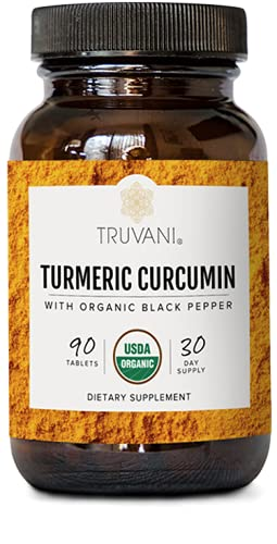 TRUVANI Organic Turmeric Curcumin (1 350mg) | Turmeric Root Powder - with Black Pepper to Support Absorption | Anti-Inflammatory  Joint Support & Stress Relief Supplement | 30 Servings