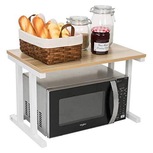 Portaforno a microonde in legno a 2 niveli, mensola da cucina, spazio di riposo, organizzatore da banco per stampanti da ufficio, supporto per mensola a microonde (color:03)