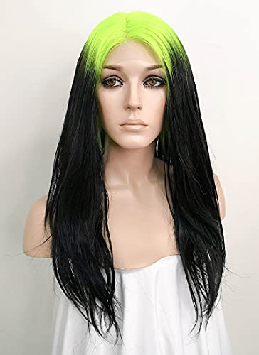 x-costume Eilish Cosplay Wig Billie Costume Green Roots and Black Lace Wig for Boy and Girls