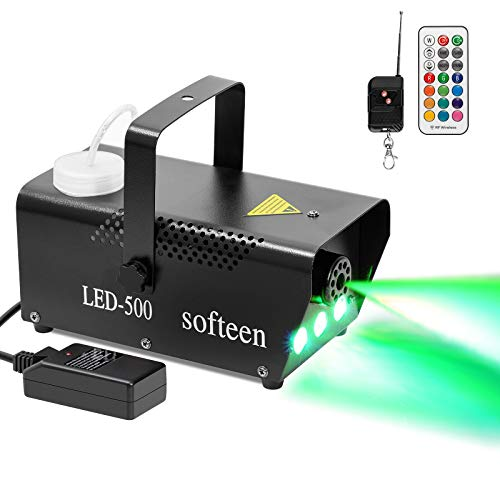 softeen Upgraded Fog Machine with Lights and Preheating Indicator, 500W Party Smoke Machine with Multiple Colors Selections, Halloween Fog Machine with Colorful LED Lights Effect