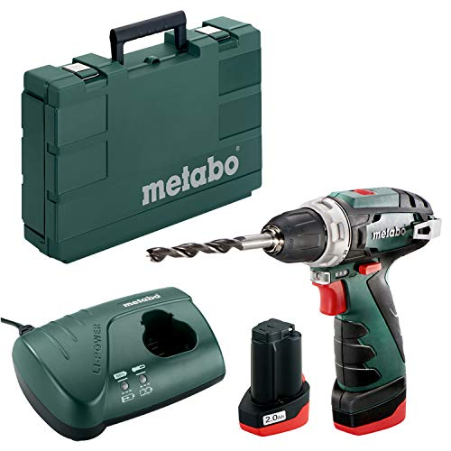 Metabo POWERMAXX BS BASIC 1400 RPM 800 g - Taladro eléctrico (1400 RPM, 1 cm, 1,8 cm, 34 Nm, 17 Nm, 301 in-lb)