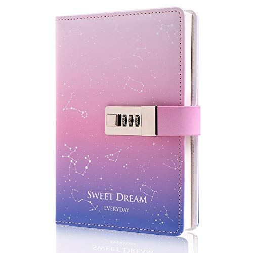 Lock Journal Leather Personal Diary with Combination Lock Secret Locking Diary for Women Girls Pink 7.4 Inch x 5.1 Inch