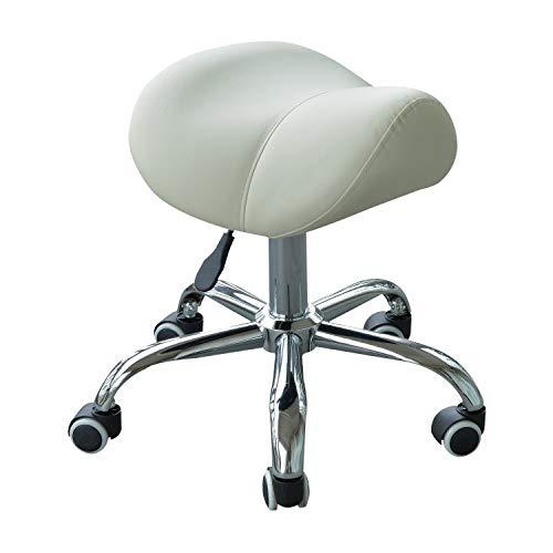 benzoni Sgabello per Estetista Parrucchiere Salone Seduta Sella Crema 52×53×49-61 cm