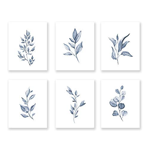 Watercolor Minimalist Leaves Wall Art Print-- Living Room or Bedroom Decor, Modern Botanical Plant Canvas Print ( Set of 6 ) , Unframed, 8X10 inch