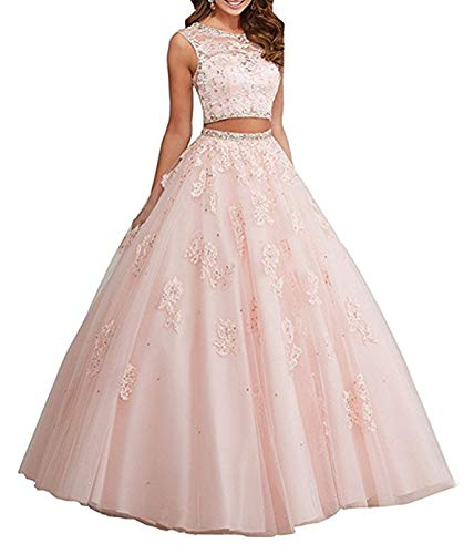 XUYUDITA Ballkleid, lang, Spitze, zweiteilig, Strass, Quinceanera-Kleid, Ballkleider Rosa-32