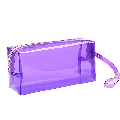 HeiHy Clear Large Capacity Pencil Cases Pen Case Transparent Pencil Bag Pouch Stationery Box for Teenage Girls Boys Purple