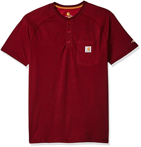 Carhartt Men's Big B&T Force Cotton Delmont Short Sleeve Henley Relaxed Fit, red/Brown Heather,...