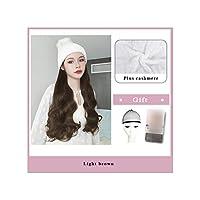 ナチュラル接続髪合成のBlack Hatカーリーヘアストレートヘアウィッグ弾性ニット帽子ウィッグ耐熱女性、2I30,22Inches