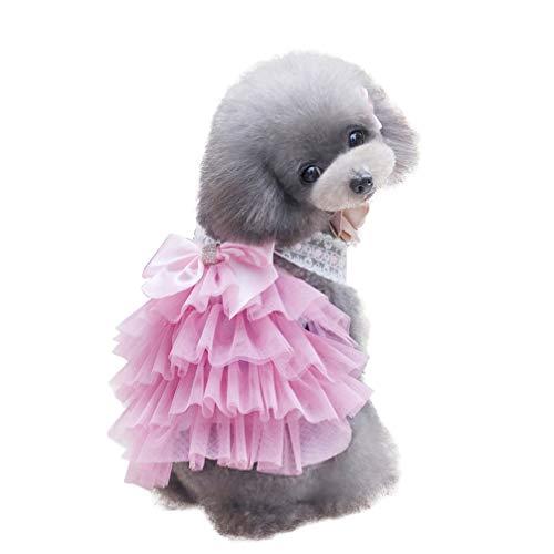 Balacoo Vestido de Perro Cachorro Princesa Tutu Falda de Arco Ropa para Perros Pequeños Gatos Ropa para Mascotas Trajes Disfraz de Perro para Bodas de Cumpleaños (Rosa-L)
