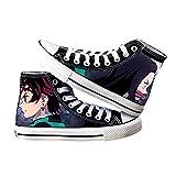 Demon Slayer High-Top Impresión a Todo Color Kamado Tanjirou Kamado Nezuko Zapatos Anime Cosplay High Top Sneakers Zapatos de Lona Zapatos de Lona con Cordones