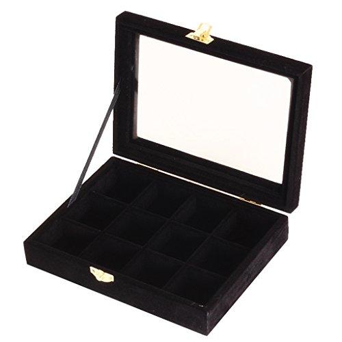 harayaa 12 Rejillas de Cristal con Tapa, Anillo, Pendientes, Exhibición de Joyería, Caja de Almacenamiento, Organizador - Negro, Individual
