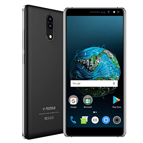 V Mobile N8 Dual SIM Unlocked Cell Phones, 5.5 inch HD, Quad Core 16GB ROM, Android 8.0, 8MP Camera Unlocked Smartphone, Compatible with ATT, T-Mobile, Cricket, Metro PCS Other GSM Carriers (Black)