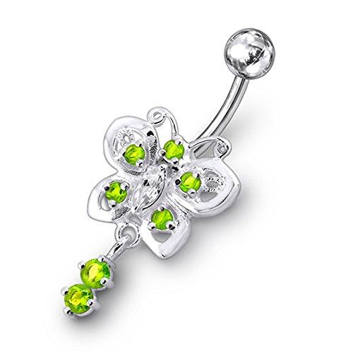 Grüner Kristall Stein Trendy Schmetterling Design Sterling Silber Bauch Lichtleisten Piercing