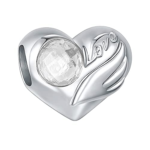 EVABELLE Birthstone Charms for Charm Bracelets- 925 Sterling Silver Guardian Angel Wing Bead Heart Charms for Bracelets and Necklaces, Mother's Day Gift Jewelry Charms for Women Girls (4)