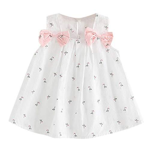 JUTOO (6M-3T Vestido sin Mangas con Estampado de Flores en Color sólido sin Mangas con Lazo en el Hombro para niños(80,90,100,110)