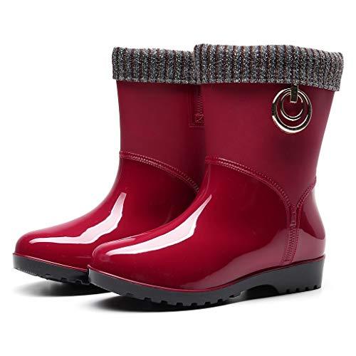 ZODOF Botas de Agua Mujer Estilo Punk Tubo Medio Calentar Botas de Nieve De Las Mujeres Antideslizante Botas de Lluvia Al Aire Libre Zapatos de Agua para Otoño e Invierno(Rojo,38 EU)