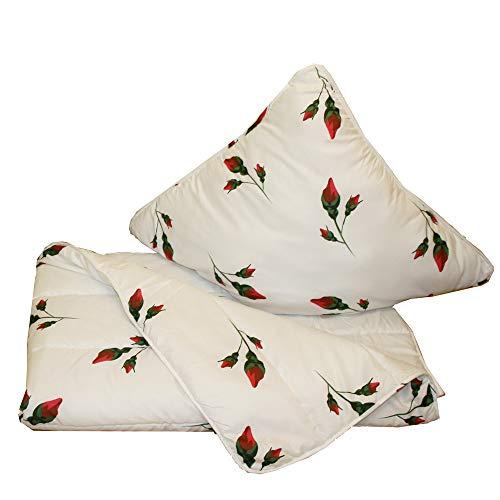 Casa Colori Juego de cama de 135 x 200 cm + edredón de 80 x 80 cm y funda de almohada para todo el año, color blanco con impresión acolchada