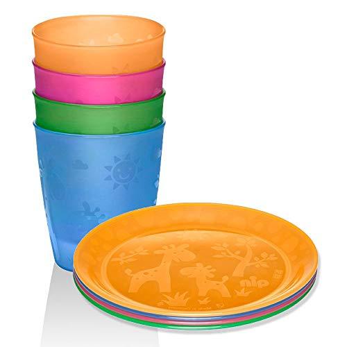 NIP Set da 8 pezzi per bambini // Made in Germany // Piatto con motivo 4 pezzi e bicchieri, confezione da 4 // simpatico motivo giraffa senza BPA