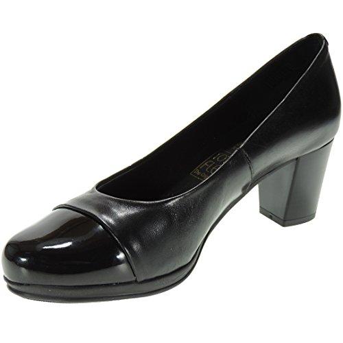 Desiree 1247 Zapato Salón Piel Tacón Ancho de 6 Cm y Punta Charol Piso Goma para Mujer Negro Talla 38