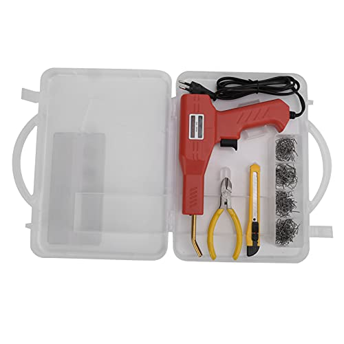 Akozon Kit de soldadura de plástico, enchufe europeo de 220 V, práctico kit de reparación de soldadura de plástico con grapadora en caliente con estuche de transporte con 4 paquetes de varillas de sol
