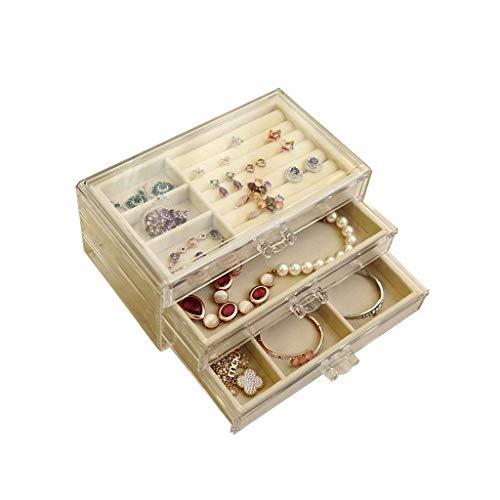 Caja de Almacenamiento de Joyas, Caja de Almacenamiento de Anillo de Collar de Pendientes, Caja de Acabado Inicio, Caja de Almacenamiento de Mesa (Color: Beige) leilims (Color : Beige)