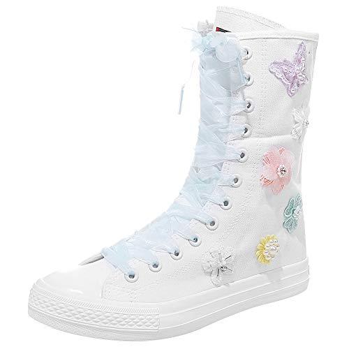 rismart Damen Canvas Stiefel Stickerei Langschaft Leinenschuhe Drucken Modisch Schnüren Hohe Segeltuch Stiefel für Frauen(Weiß Mehrere,41 EU)