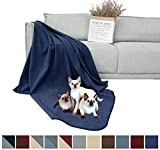 DEARTOWN 100% Waterproof Furniture Cover for Dogs and Cats,Super Soft Pet Blanket for Bed Couch Sofa (70x90 Inches, Navy)