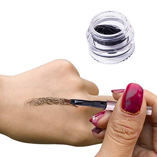 Turelifes Wasserdicht Augenbraue Extensions Gel Instant Augenbrauen Haarverlängerungen mit Augenbraue Pinsel für Frauen und Männer Brow Makeup Kosmetik Schwarz (Dunkler Kaffee)