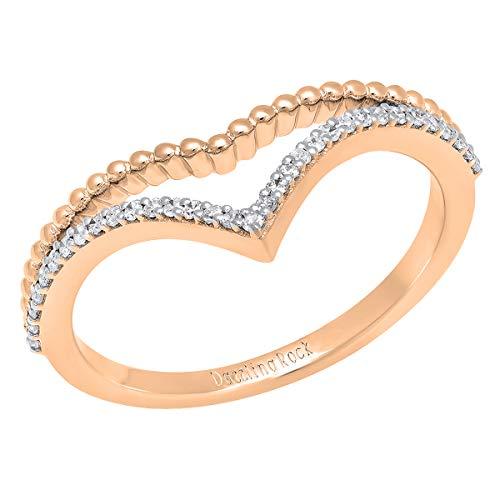 Anillo de boda de diamantes blancos redondos de 0,15 quilates (peso total) de 10 quilates con diamantes blancos para mujer