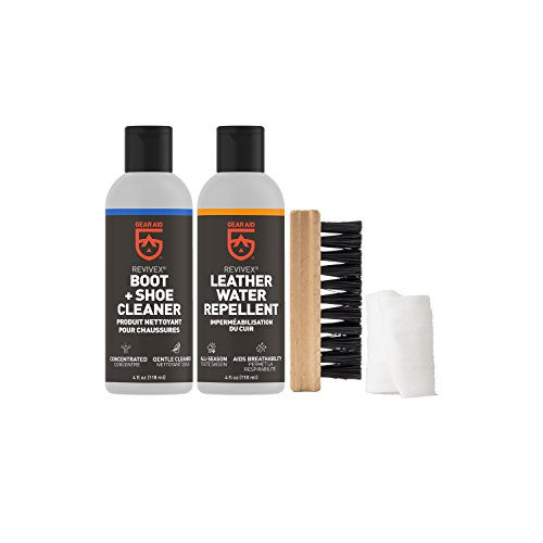 GEAR AID Revivex Leather Boot Care Kit with Water Repellent, Cleaner, Brush and Cloth , Two 4 fl oz bottles