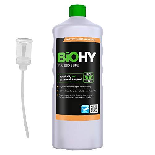 BiOHY Jabón líquido (1 botella de 1 litro) + Dosificador | Jabón líquido para manos inodoro, agradable a la piel y reengrasante | Sin perfume ni colorantes (Flüssig Seife)
