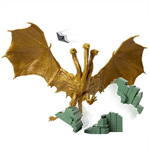 Jakks Pacific - King Ghidorah Figura Acción 15cm con Aviones y Ciudades destructibles por Godzilla King of Monster 65th Anniversary