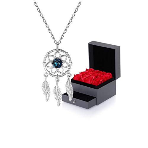 Collares Mujer Dreamcatcher Collar de Las señoras de Plata esterlina Hueco Collar de clavícula Cadena Rose vidriada Piedra Azul Oro (con Caja de Regalo) Collares Colgantes (Color : A)