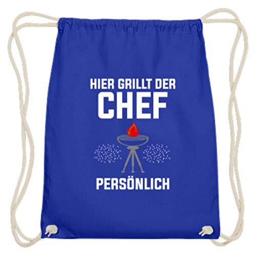 SPIRITSHIRTSHOP Hier Grillt Der Chef Personal - Grillen, koken, bakken, grillchef, grillmeester, worst - Katoen Gymsac