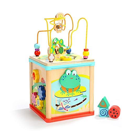 Yifuty Fünf-in-eins-Frosch um die Perlen-Schatzkiste einjähriges Baby Perlen Educational Toys 1-2-3 Jahre alte Jungen und Mädchenzeitbildung