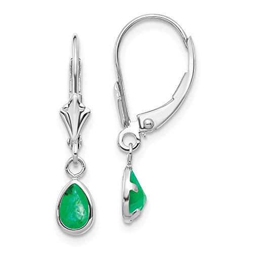 Oro bianco 14K 6x 4mm smeraldo maggio orecchini