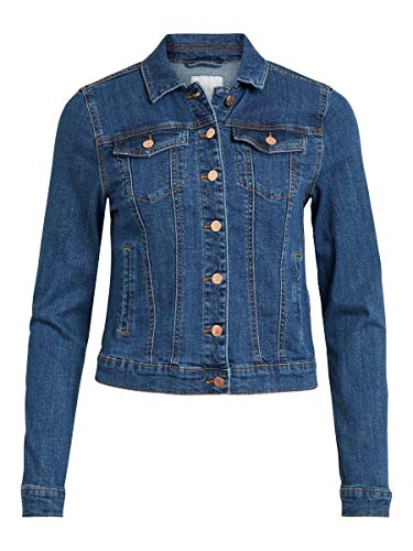 Vila NOS Damen VISHOW Jacket V. MBD-NOOS Jacke, Blau (Medium Blue Denim Medium Blue Denim), 34 (Herstellergröße: XS)