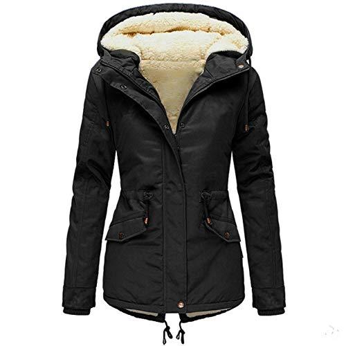FunAloe Warme Damen Winter Jacke lang Winterjacke Mantel Verdickte, mit Baumwolle gepolsterte Kleidung mit Taschen Damen Winter Jacke Mantel Warm gefütterte Winterjacke Damen Winter Mantel