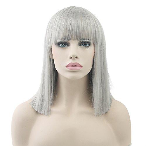 Fouriding peluca Bob mujer pelo corto y corto con flequillo sintético Cosplay peluca,Gris