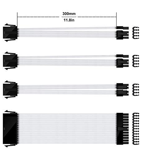 upHere Sleeved Cable - Kabelverlängerung für die Stromversorgung mit extrahüller 24 PIN 8PIN 6PIN 4 + 4 PIN - Weiß,NSC30WT