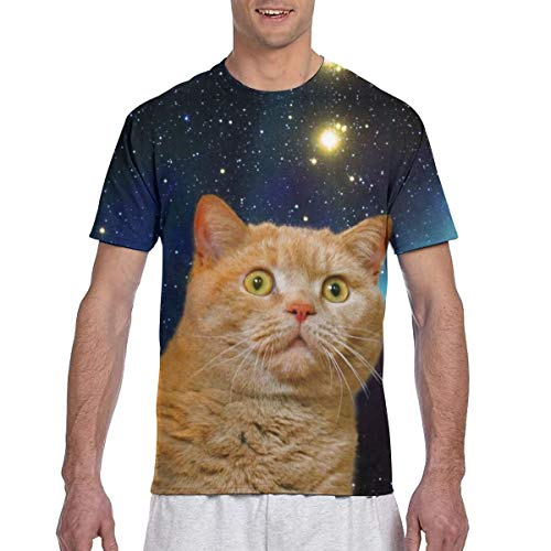 Cat Print Men's Short Sleeve T-Shirts Comfort Soft Men's T Shirt,Black,L