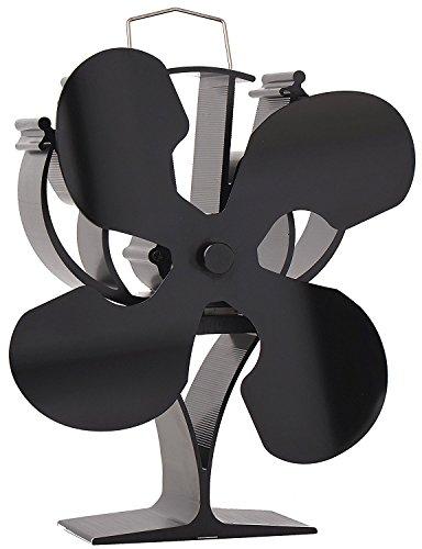 VODA Nuevo diseño 4 cuchillas ventilador de estufa de calor para leña/quemador de leña/chimenea - respetuoso con el medio ambiente (negro)